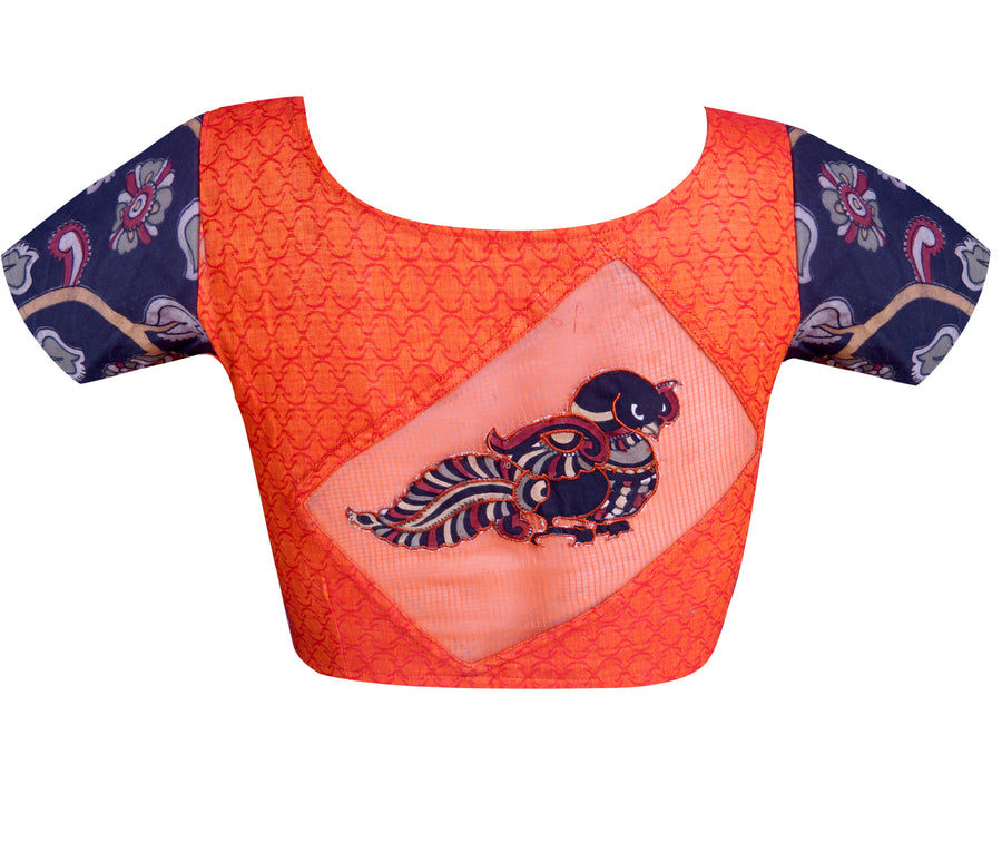 Boat Neck Dobby & Pen Kalamkari Applique Work Readymade Blouse
