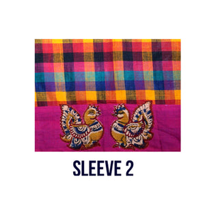 South Cotton slup check Blouse Fabric(1 Meter)