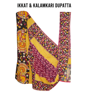 Mercerized Ikkat and Kalamkari Dupatta