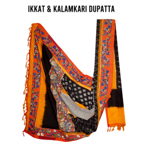 Ikkat and Kalamkari Dupatta