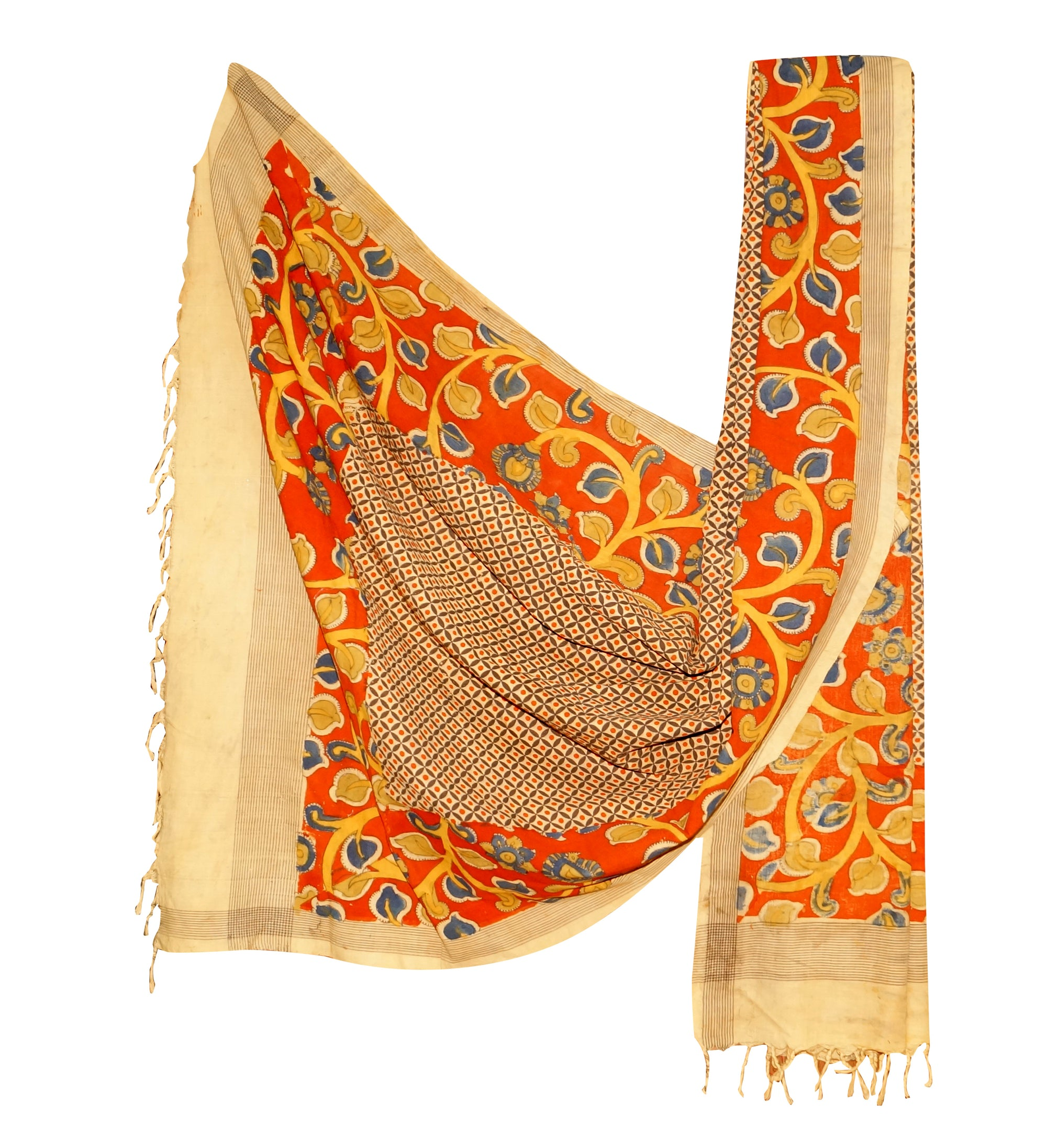Ikkat and Pen Kalamkari Dupatta