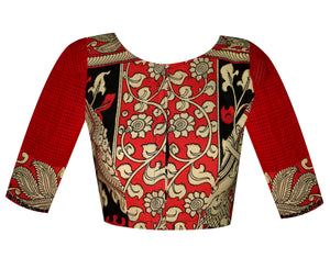 Boat Neck Kalamkari & Missing Checks Elbow Sleeves Readymade Blouse