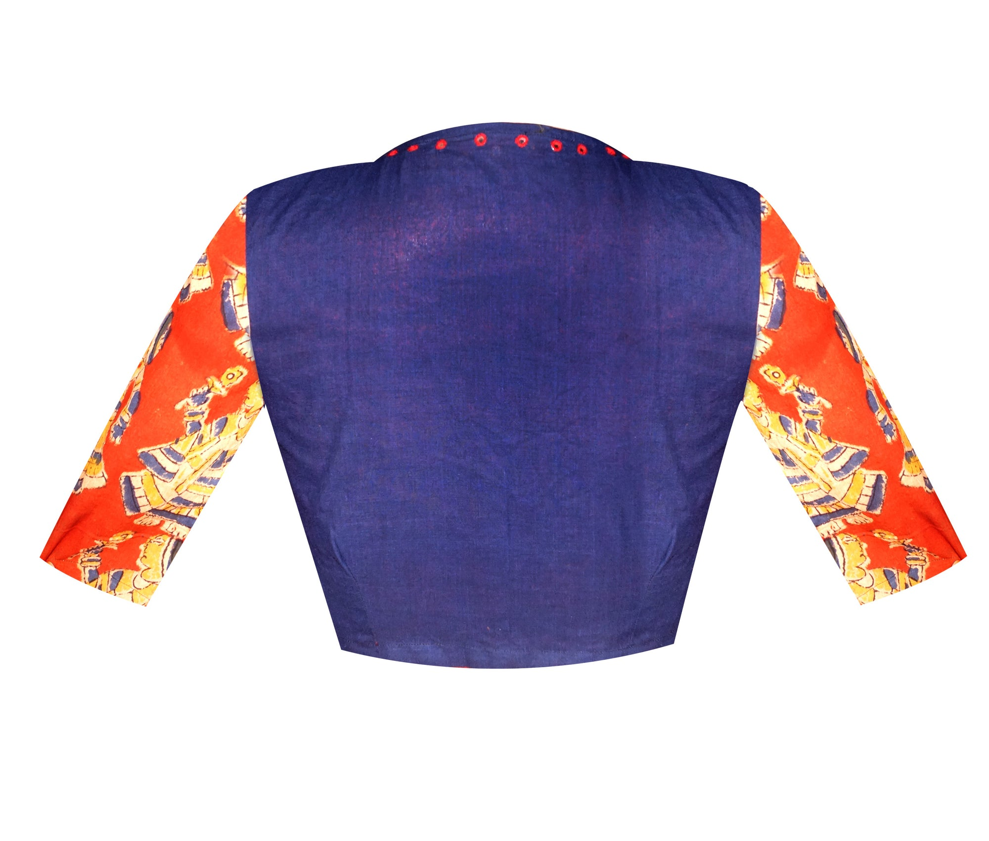 High Neck South Cotton and Kalamkari Elbow Sleeves Readymade Blouse