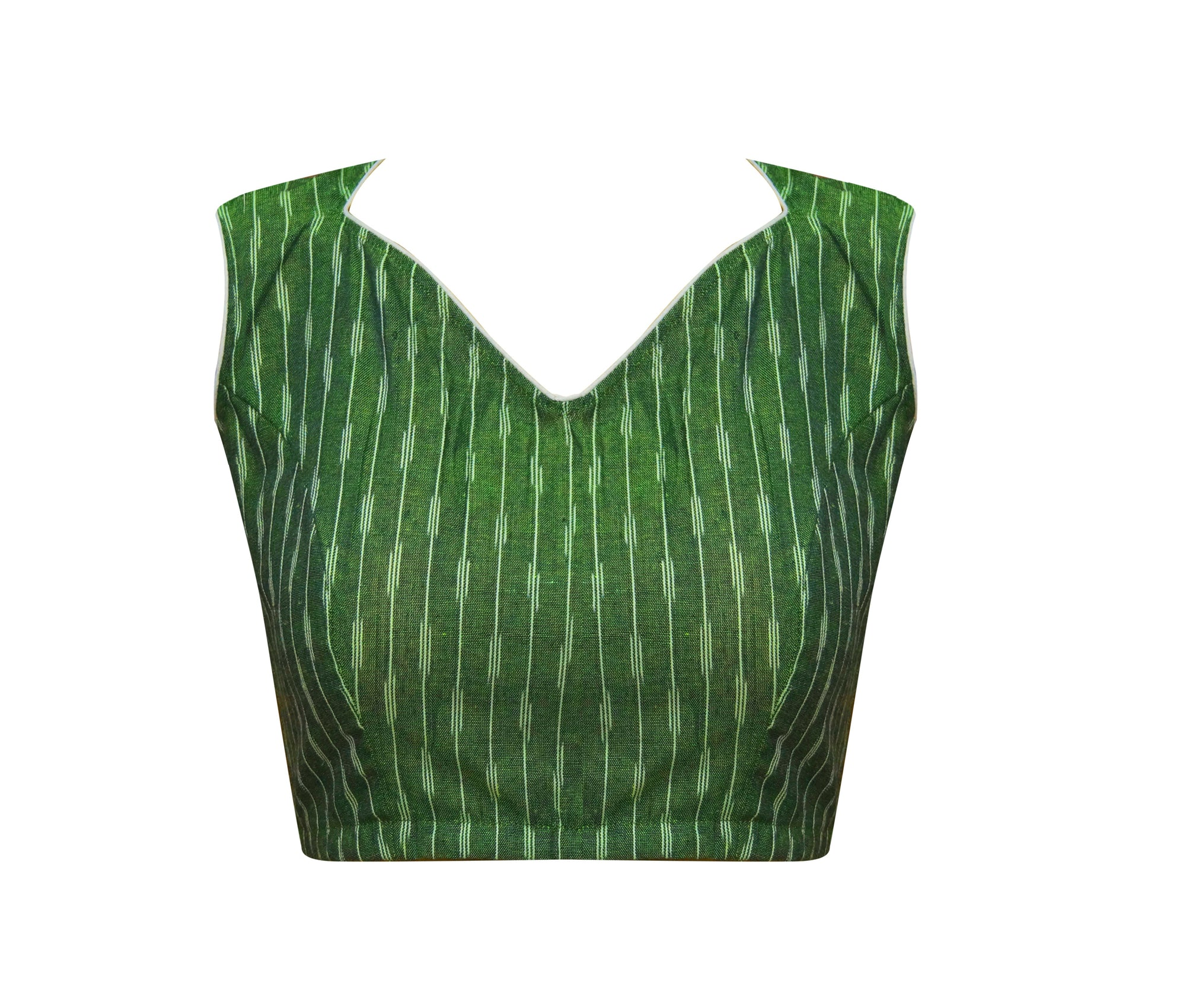High Neck Ikkat Sleeve Less Readymade Blouse