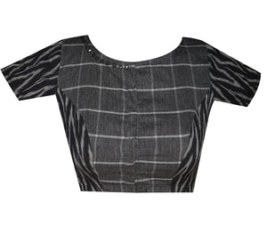 Boat Neck South Cotton Check and Ikkat Readymade Blouse Plus Size
