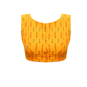 Boat Neck Ikkat Sleeveless Readymade Blouse