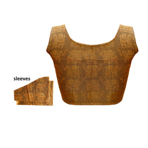 Boat Neck Supernet and kalamkari Sleeveless Readymade Blouse