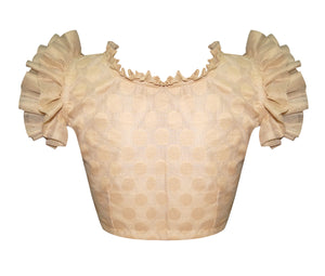 Frilly Ruffles Unique Design Jaquard Readymade Blouse
