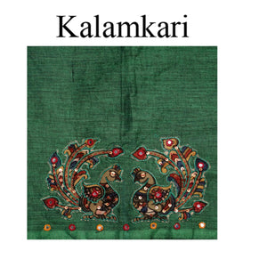 Traditional Unique Design Deep Neck South Cotton and PenKalamkari Applique Work Readymade Blouse