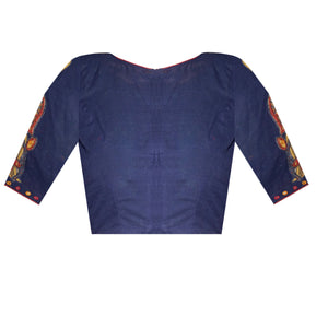 Traditional Unique Design South Cotton and PenKalamkari Elbow Sleeves Applique Work Readymade Blouse