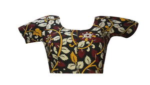 Deep Neck Kalahasthi Allover Floral Readymade Blouse