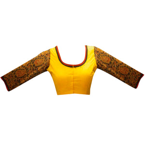 Deep Neck Kalamkari 3/4 Sleeves Readymade Blouse