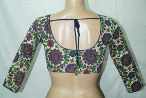Deep Neck Kalahasthi 3/4 Sleeves Readymade Blouse