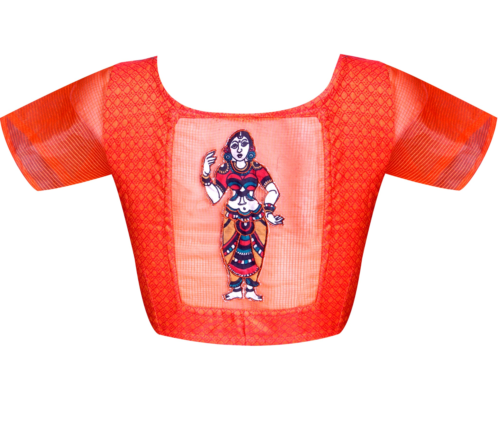 Boat Neck Dobby & Kota Applique Work Readymade Blouse
