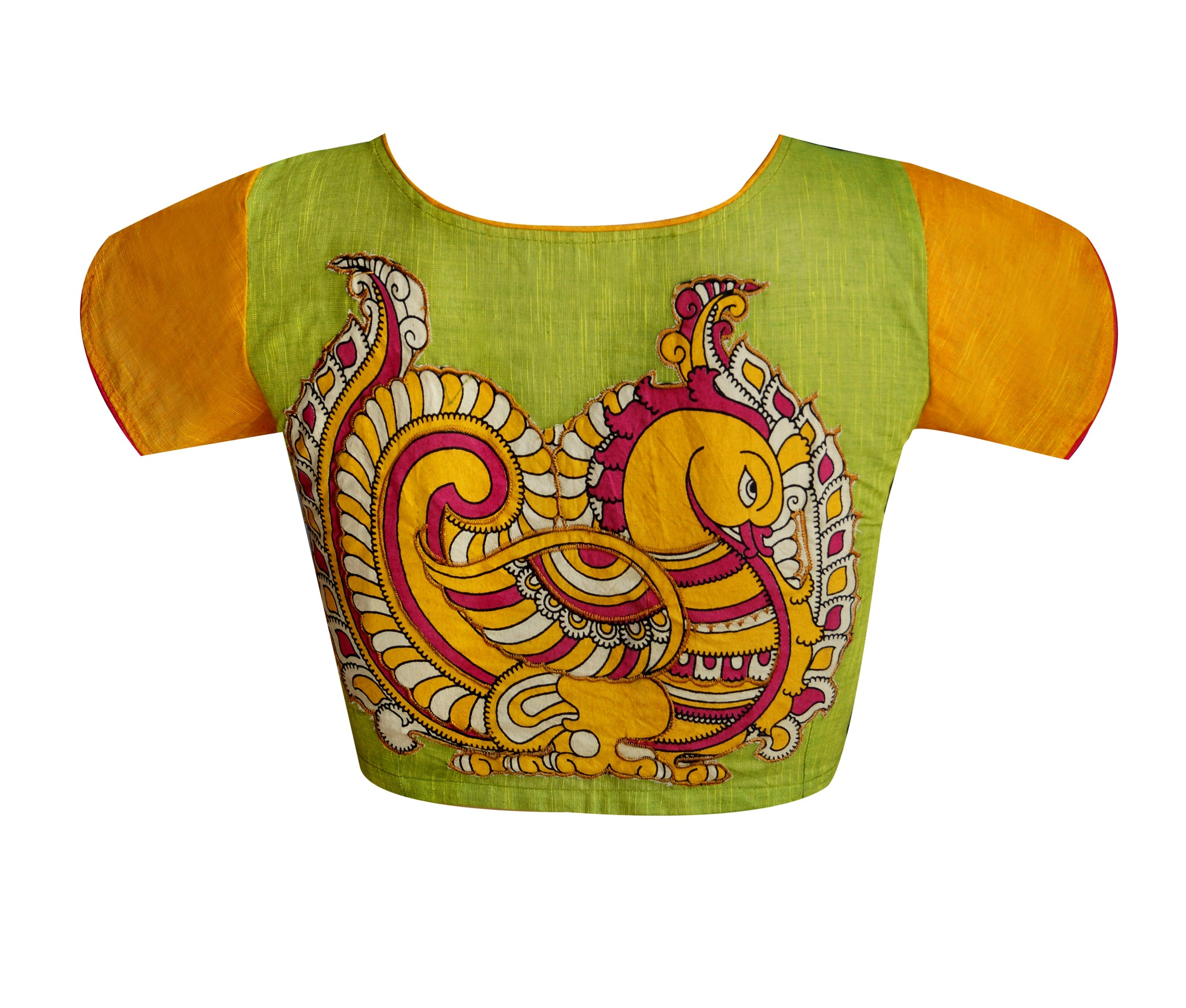 Boat Neck South Cotton Applique Work Readymade Blouse