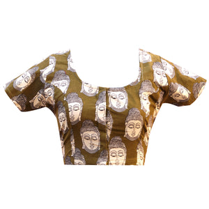 Deep Neck Budha Print Readymade Blouse
