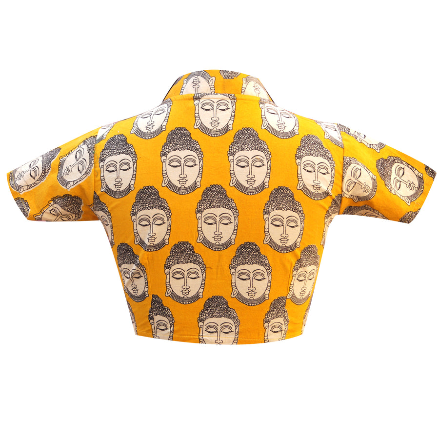 Collar Neck Budha Print Readymade Blouse