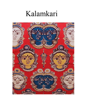 Collar Neck Narayanpet & Kalamkari 3/4 Sleeves Readymade Blouse