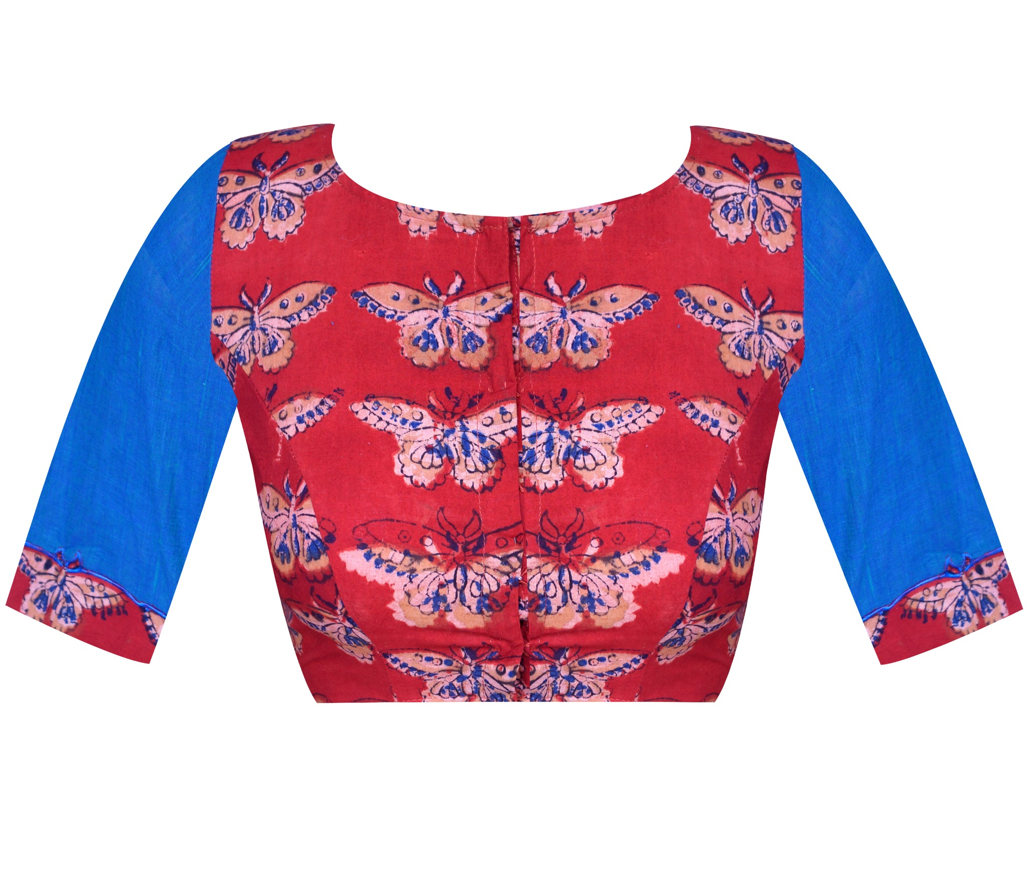 Block Kalamkari & South Cotton Applique Work Elbow Sleeves Readymade Blouse