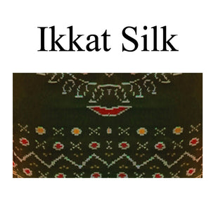 Collar Neck ikkat silk and elbow sleeves Readymade Blouse