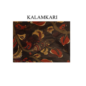 Deep Neck  Cotton silk pen kalamkari gorgette Readymade Blouse