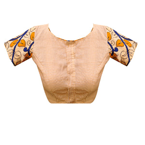 Traditional Unique Design boat Neck South Cotton &  Kalamkari printed  Readymade Blouse