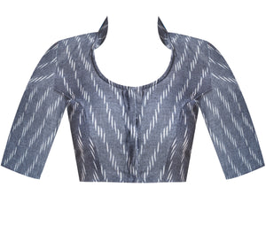 Collar Neck Ikkat Elbow Sleeves Readymade Blouse