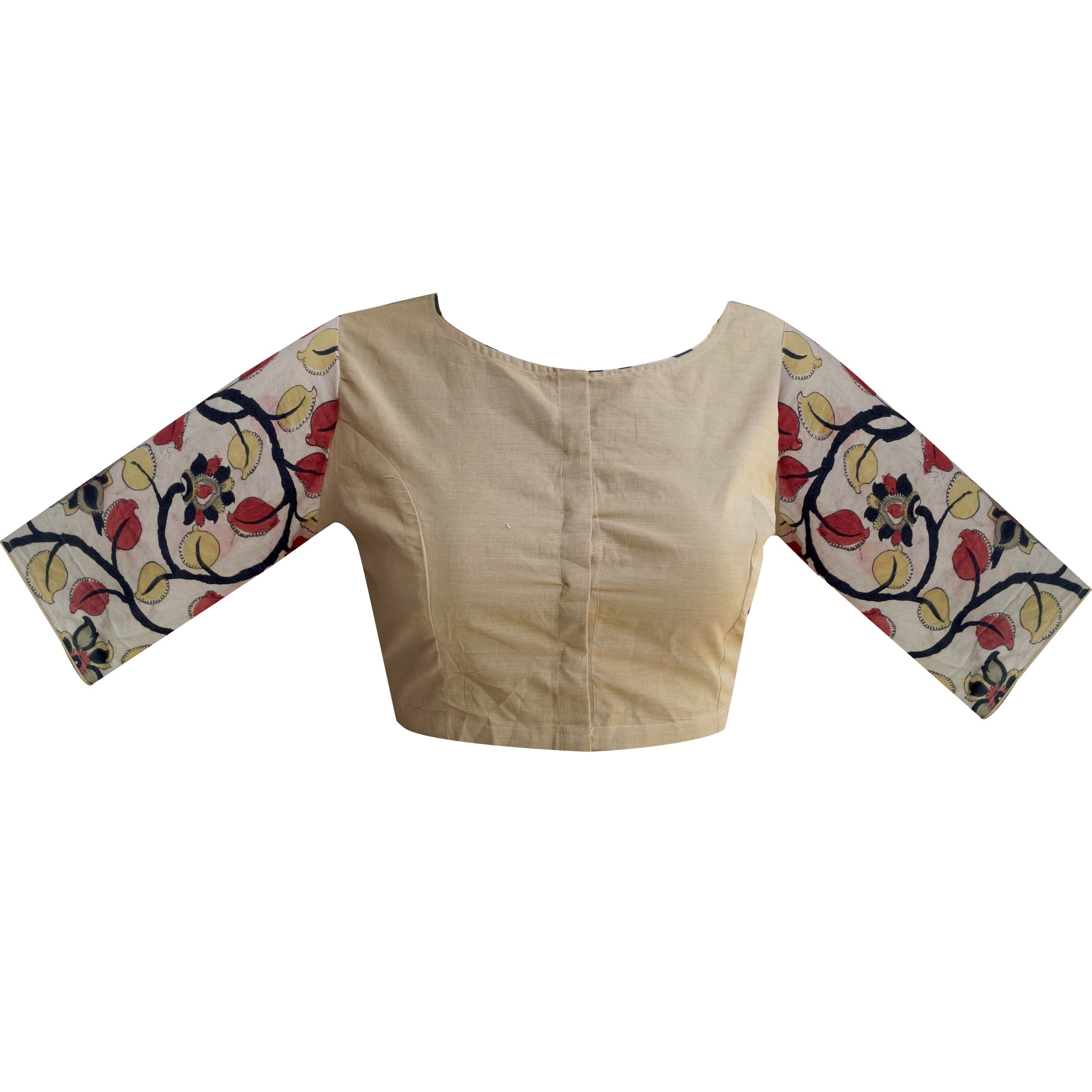 Boat Neck South Cotton & Pen Kalamkari Elbow Sleeves Readymade Blouse