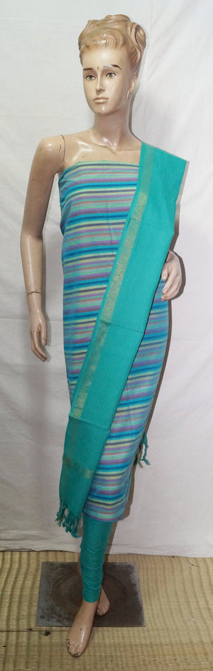 Dress Material-1102(MultiColor & RamaGreen)