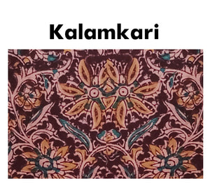 Boat Neck kalamkari Elbow Sleeves Half&Half Readymade Blouse