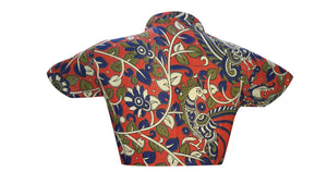 Collar Neck Kalahasthi Peacock Print Readymade Blouse