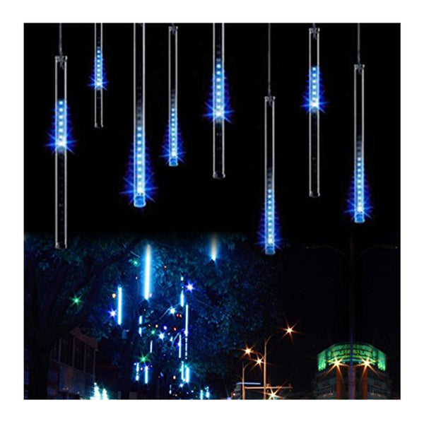 OMGAI Waterproof Meteor Shower Rain Lights - 30cm 8 Tubes Drop Icicle Snow Falling Raindrop Cascading Lights for Wedding Party Christmas, Shine Blue/White/Colorful (UL Listed Plug)