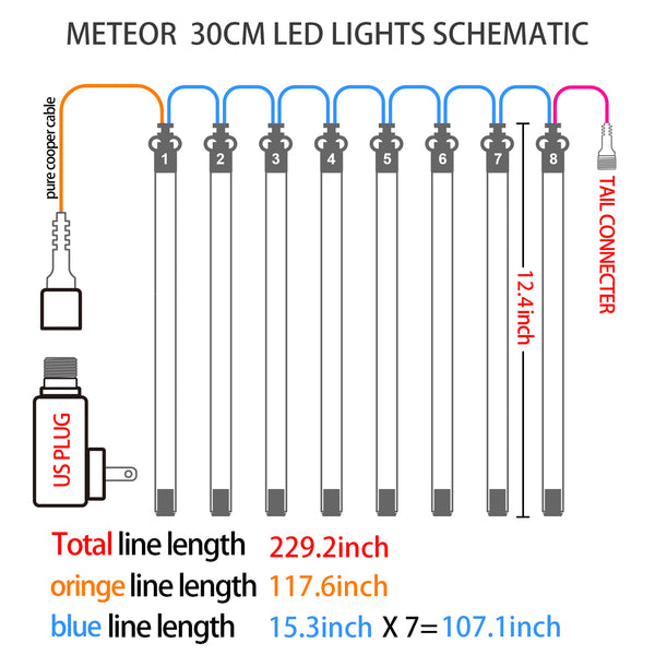 Egodirect 30cm 8 Tubes 144 LED Meteor Shower Rain Lights, Drop/Icicle Snow Falling Raindrop Cascading lights for Wedding party Christmas, Blue
