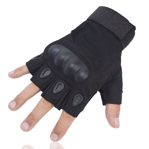 Special Half Finger Gloves for Motorcycle Hiking Outdoor Sports Black, OMGAI