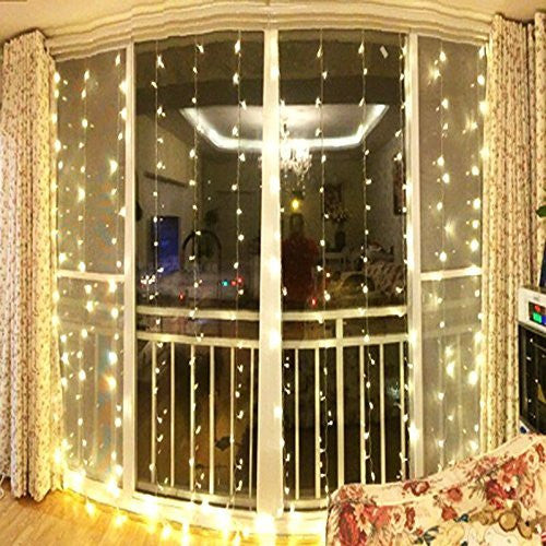 Window Curtain Icicle String Lights of 300LED for Christmas Xmas Wedding Party Home Decoration Fairy Lights Wedding Party Home Garden Decorations 3m*3m(Warm White) (Upgraded Low Voltage) [Energy Class A+++], OMGAI