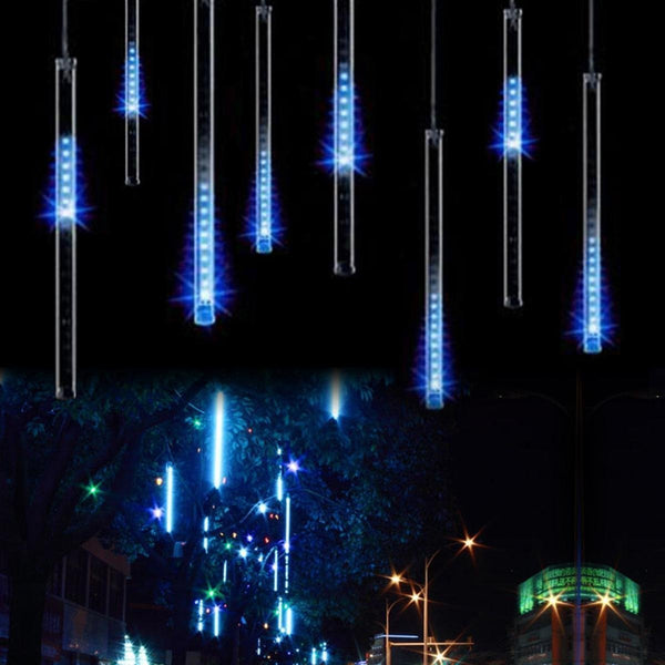 Upgraded LED Meteor Shower Rain Lights, Drop/Icicle Snow Falling Raindrop 30cm 8 Tubes Waterproof Cascading lights for Wedding Xmas Home Decor - Blue,US plug, OMGAI