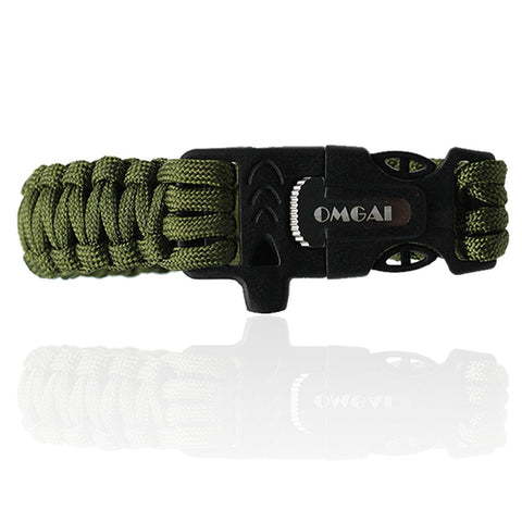 Survival Paracord Bracelet Gear with Flint Fire Starter Scraper Whistle for Outdoor Living Camping Hunting Travelling,OMGAI