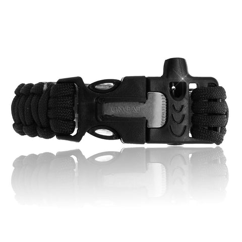 Survival Paracord Bracelet Gear with Flint Fire Starter Scraper Whistle for Outdoor Living Camping Hunting Travelling, OMGAI