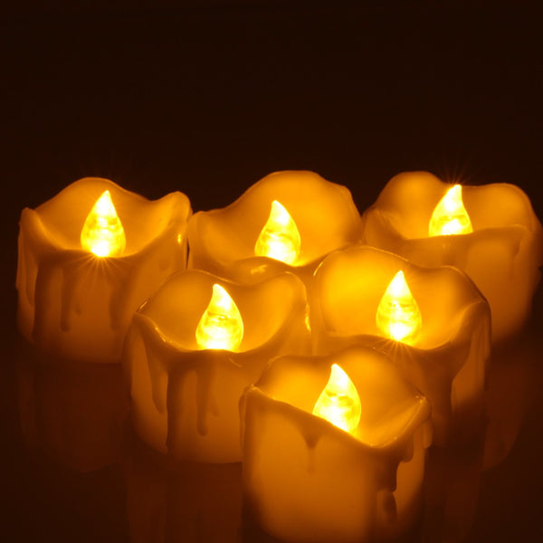 12pcs Battery Powered LED Tea Light with Timer Flickering Flamel, OMGAI