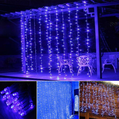 Window Curtain Icicle String Lights 300LED for Christmas Xmas Wedding Party Home Decoration Fairy Lights Wedding Party Home Garden Decorations 3m*3m(BLUE)(Upgraded Low Voltage) [Energy Class A+++] [Energy Class A+++],OMGAI