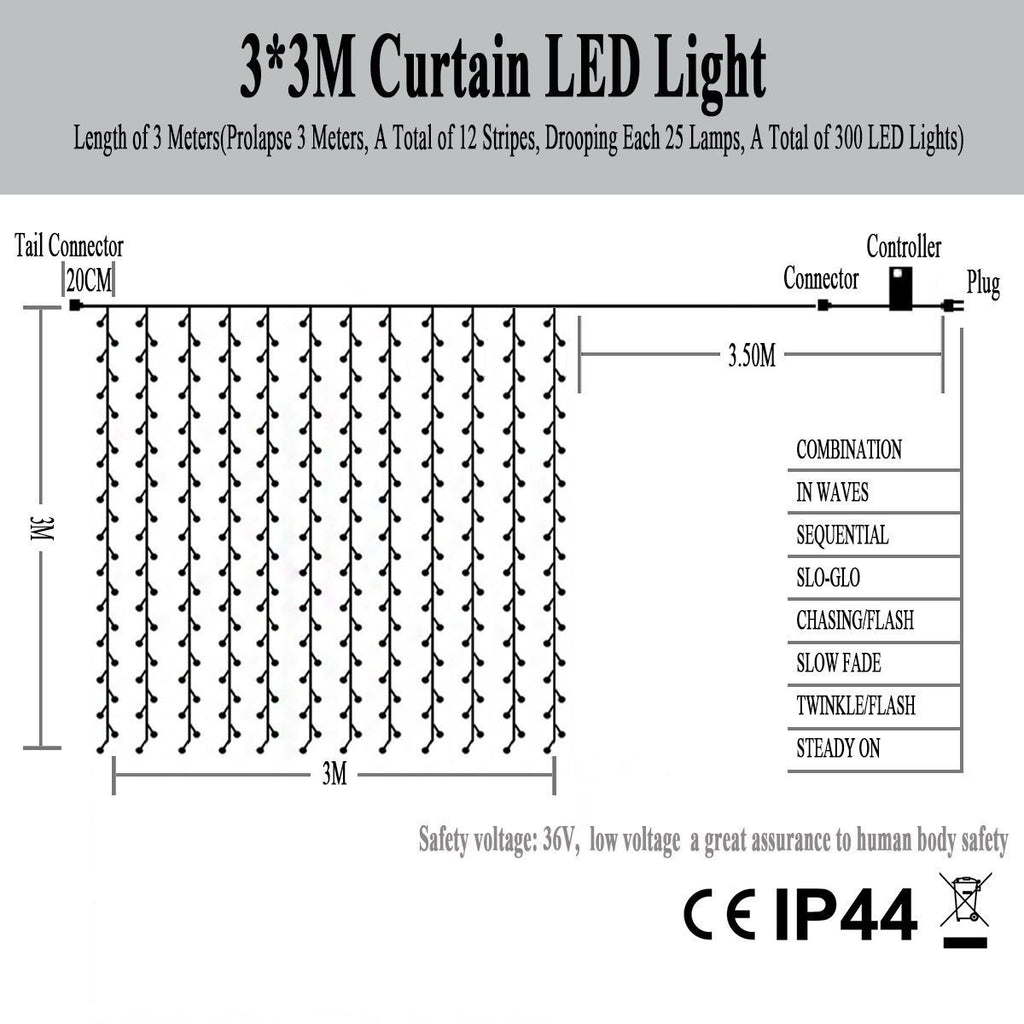 Window Curtain Icicle String Lights Of 300led For Christmas Xmas Omgai Light Wiring Diagram 3 Wire Besides Wedding Party Home Decoration Fairy