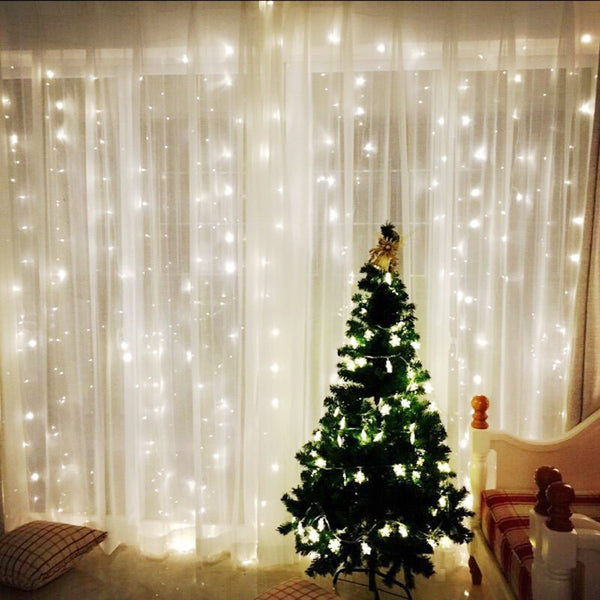 Window Curtain Icicle String Lights of 300LED for Christmas Xmas Wedding Party Home Decoration Fairy Lights Wedding Party Home Garden Decorations 3m*3m(White) (Upgraded Low Voltage) [Energy Class A+++], OMGAI