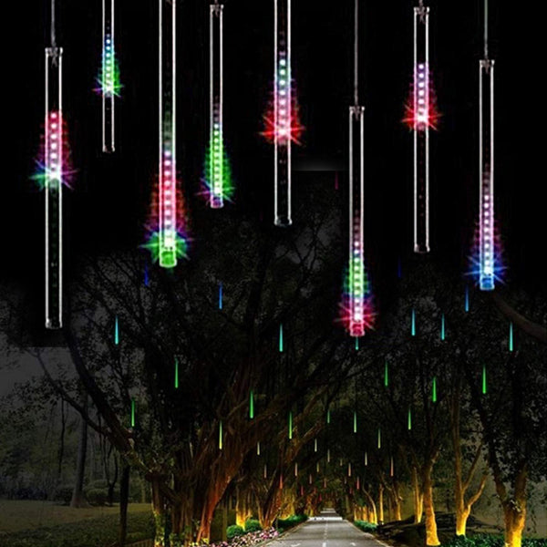 Upgraded LED Meteor Shower Rain Lights,Drop/Icicle Snow Falling Raindrop 30cm 8 Tubes Waterproof Cascading lights for Wedding Xmas Home Decor - Colorful, US plug OMGAI