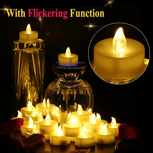 Set of 24 LED Tea lights Candle Battery Operated Bright Flickering Unscented Flameless Candles Electric Tealight 60+ Hours of Lighting For Christmas Wedding Home Decor - Warmwhite, OMGAI