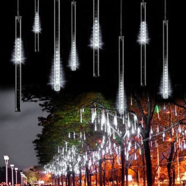 Upgraded 30cm 8 Tubes 144 LED Meteor Shower Rain Lights, Drop/Icicle Snow Falling Raindrop Cascading lights for Wedding party Christmas, White ( US plug - IP44 Waterproof ), OMGAI