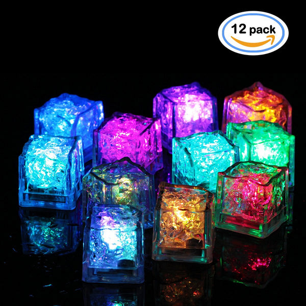 OMGAI LED Ice Cubes, Multicolor Flashing Submersible LED Light Up Ice Cubes Rocks for Bar Club Wedding Party Gift Event Champagne Tower Decoration 12 Pack