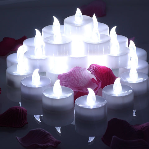 24 pcs LED Tea lights Candles Battery Operated Flameless Candles Unscented Flickering Electric Tealight 60+ Hours of Lighting For Xmas Home Decorations - Cool White, OMGAI