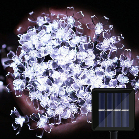 Solar Outdoor String Lights, OMGAI 39Ft 100 LED Waterproof Blossom Christmas Lights for Home, Wedding, Party, Holiday, Lawn, Garden Decoration (White)