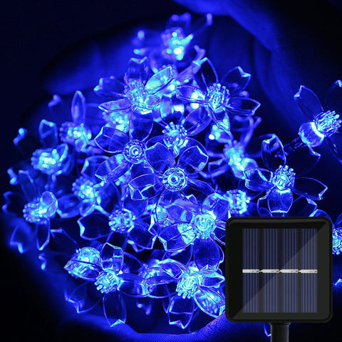 Blossom Flower Lights, 39Ft 100 LED Solar Fairy String Lights for Garden, Pergola and Festival Decoration, Blue OMGAI