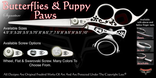 Butterflies & Puppy Paws 3 Hole Double Swivel Thumb Signature Grooming Shears